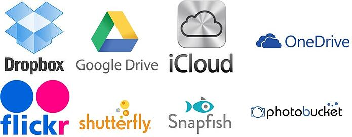 dropbox, drive, icloud, onedrive, flickr, shutterfly, snapfish, photobucket cloud logos