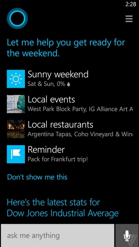 cortana updates about weather, local events, reminders