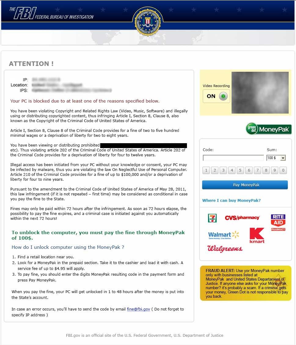 FBI cryptovirus and ransomware page, malware