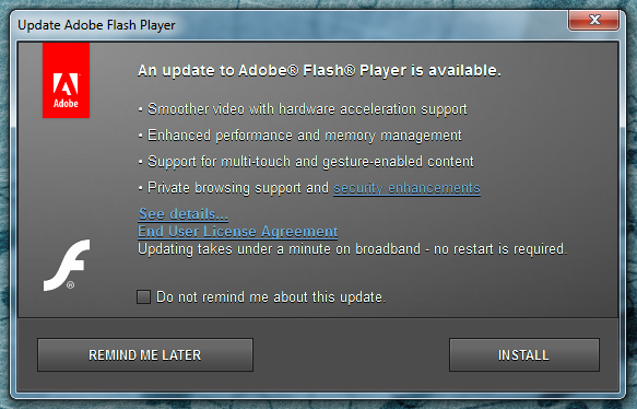 adobe flash player update available window