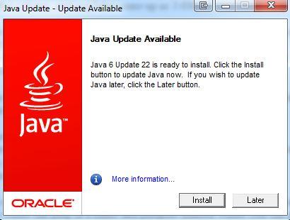 java update available window