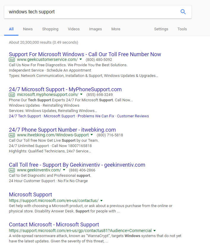 windows tech support google search, showing deceptive search results