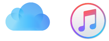 icloud backup logo and itunes logo for backing up your smartphone